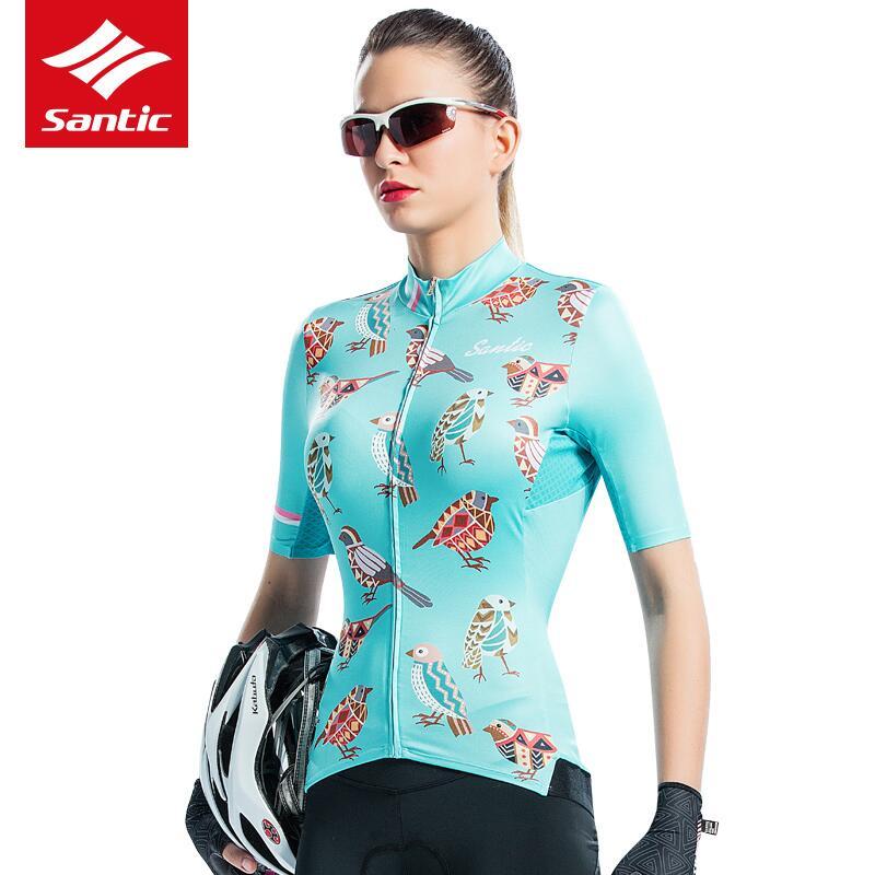 Maillot de cyclisme SANTIC Maillot de vélo vtt chemise femme manches courtes vêtements de cyclisme vêtements de vélo Ropa Maillot Ciclismo taille asiatique