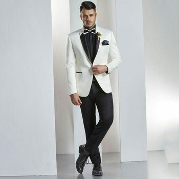 Ivory Mens Wedding Suits Pants Groom Tuxedos Groomsmen Suits Man Blazers 2Piece Latest Designs Costume Homme Terno Masculino