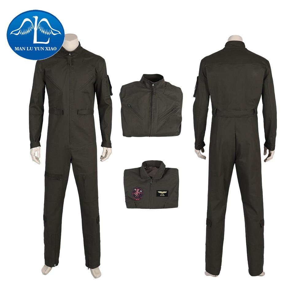 Top Gun Men's Flight Pilot Jumpsuit Jacket Coat Army Soldier Costume Halloween Cosplay Customize Deluxe
