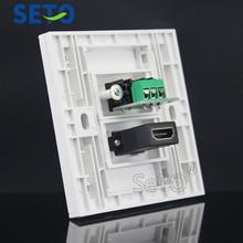 SeTo 86 Type One Port Red& White Audio+ HDMI Panel Wall Plate Socket Keystone Faceplate
