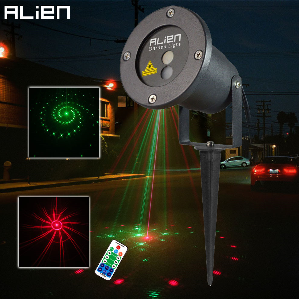 ALIEN 12 Patterns Red Green Laser Projector Waterproof Outdoor Remote RG Landscape Lighting Garden Christmas Holiday Lawn Lights oxo good grips 3 in 1 avocado slicer green garden lawn maintenance
