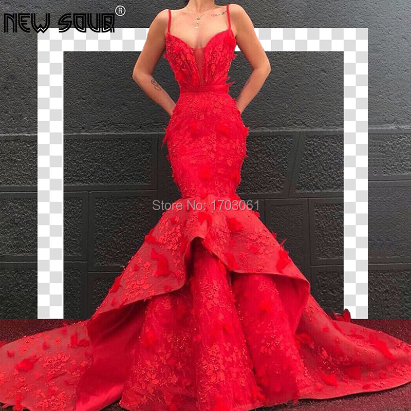 Arabic Couture New Red Feathers Mermaid Evening Dresses With Weddings 2019 Kaftans Dubai Islamic Prom Dress Formal Party Gowns