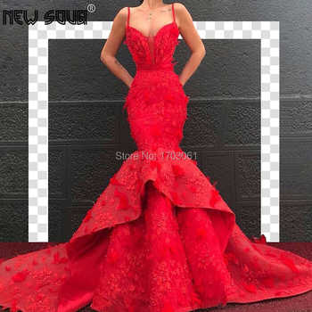 Arabic Couture New Red Feathers Mermaid Evening Dresses With Weddings 2019 Kaftans Dubai Islamic Prom Dress Formal Party Gowns - DISCOUNT ITEM  25% OFF All Category