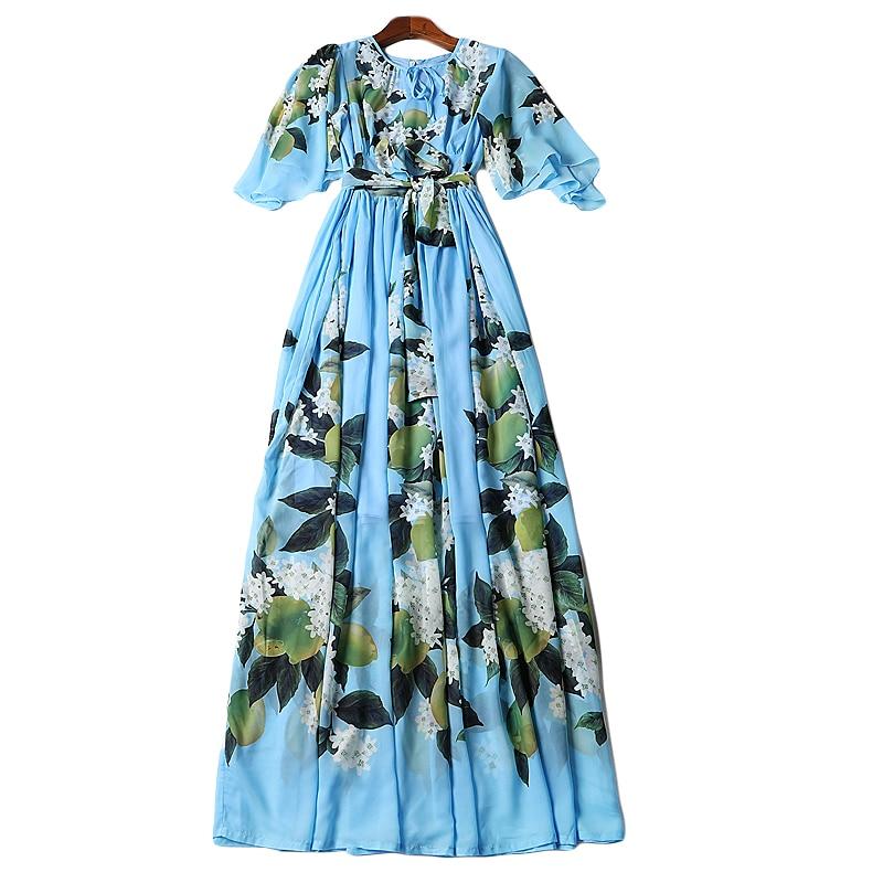 D'été Femmes Bohême souris Maxi Ceinture Fashion S Imprimer Robe Piste 2018 Long Designer Pu Chauve Casual 5xl Manches Floral Xf Ciel ~ fIx6P