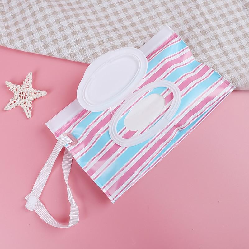 1 Stück Zipper Nassen Wischt Tasche Im Freien Reise Durchführung Windel Tasche Snap-riemen Hängenden Papier Tissue Container Für Kinderwagen