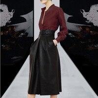Формальная Женская деловая рабочая одежда комплект из 2 предметов костюмы элегантные женские винно красные блузки и черная кожаная юбка ко