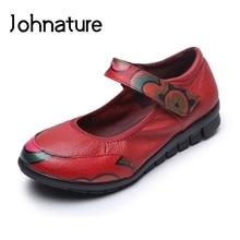 Johnature 2019 Nova Primavera/outono Retro Artesanal de Couro Genuíno Rasa Dedo Do Pé Redondo Sola Macia Das Mulheres Cunhas Sapatos Casuais Bombas