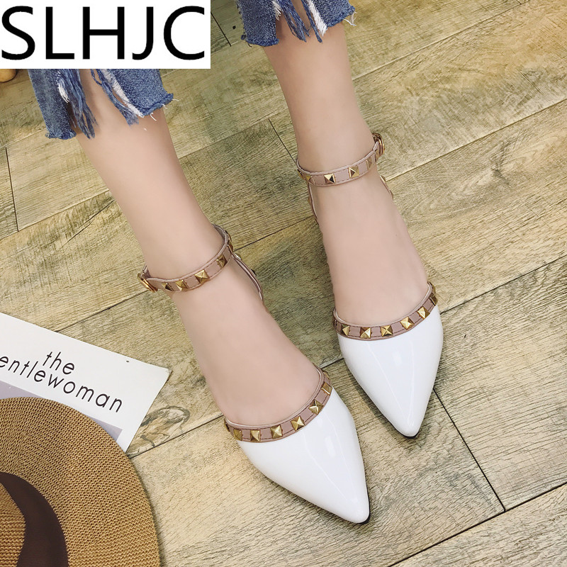 SLHJC Women Summer Autumn Flats Pointed Toe Shallow Mouth Flat Heel Sandals Rivet Shoes Casual Lady Shoes  seiko ssb254p1
