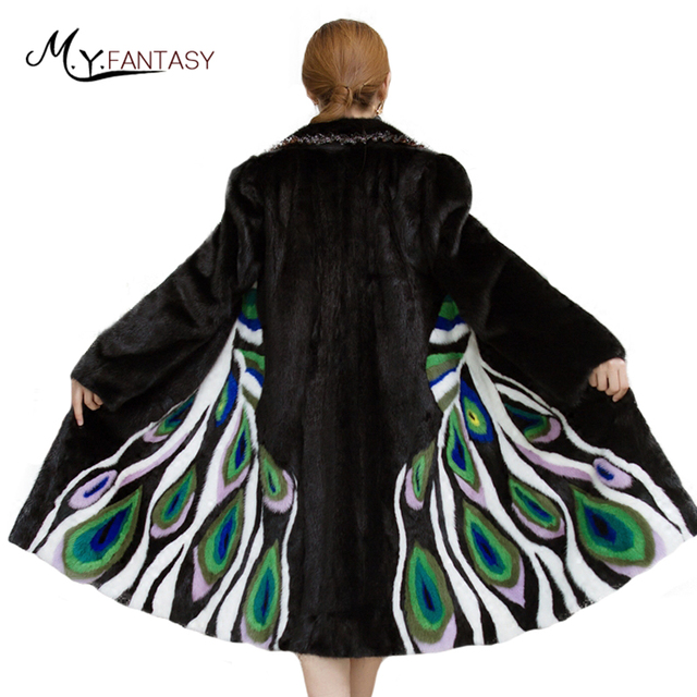 M Y FANSTY Shuba invierno Noble encantador, de estampado de pavo Real abrigos de visón de 2019 mujeres Natural abrigos de piel de alta calidad Piel de visón abrigos