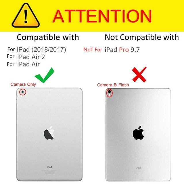 360 Degrés Rotation Cuir étui intelligent pour Apple iPad Air 2 1 5 6 Nouvel iPad 9.7 2017 2018 A1822 A1823 A1893 Coque Funda