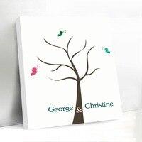 Colorful Butterflies Fingerprint Wedding Tree Canvas Guest Book Wedding Decoration Vintage Design Unique Guestbook for Lover