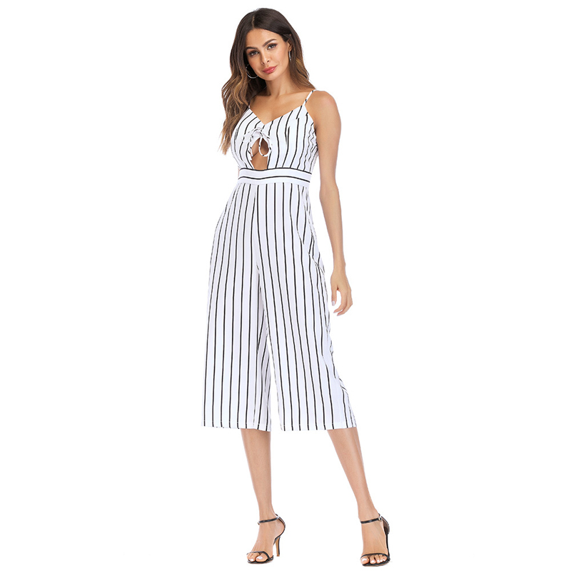 2018 Summer Women New Striped Wide Leg Jumpsuit Daily Fashion Elegant Sexy Casual Office Work Jumpsuit Long Pants Overalls S-2XL