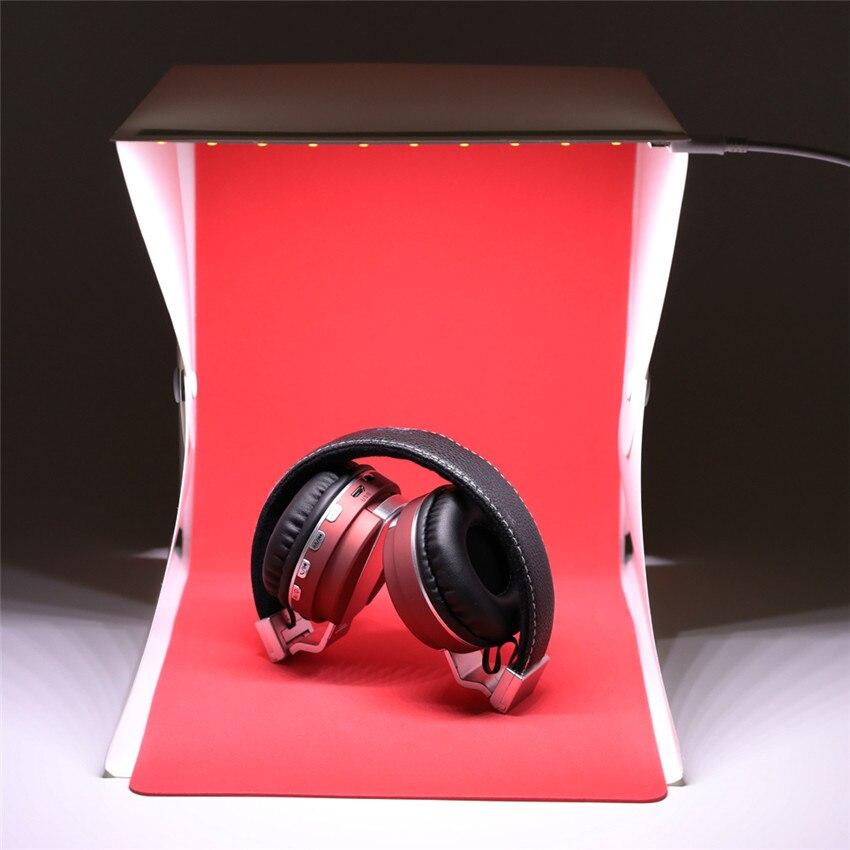 Portable Photo Studio 9 Mini Folding Table Top Led Light Box Photography Lighting Tent W/ 4pcs white Green Red Black Backdrop 2019 New Fashion Style Online