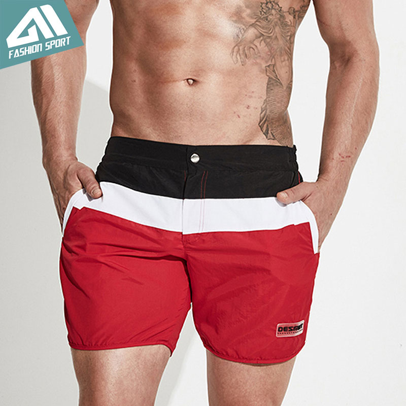 Desmiit Patchwork Mænds Svømning Shorts Hurtig Tør Surfing Beach Herre Støvler Shorts Athletic Sports Løb Gym Male Shorts DT79