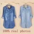 Sólido Blusa Tops Button Blusas Más El Tamaño 2016 Nuevas Mujeres de la Llegada de Primavera Camisa de Mezclilla de Las Mujeres Jeans de Moda Chaqueta de Algodón Ordinario