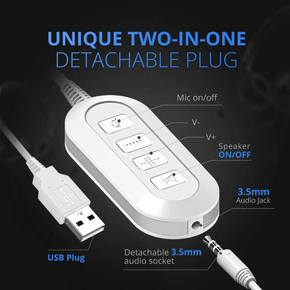 mpow bh125 usb 3 5mm plug wired headphones with mic for mac skype call center  [ 1000 x 1000 Pixel ]