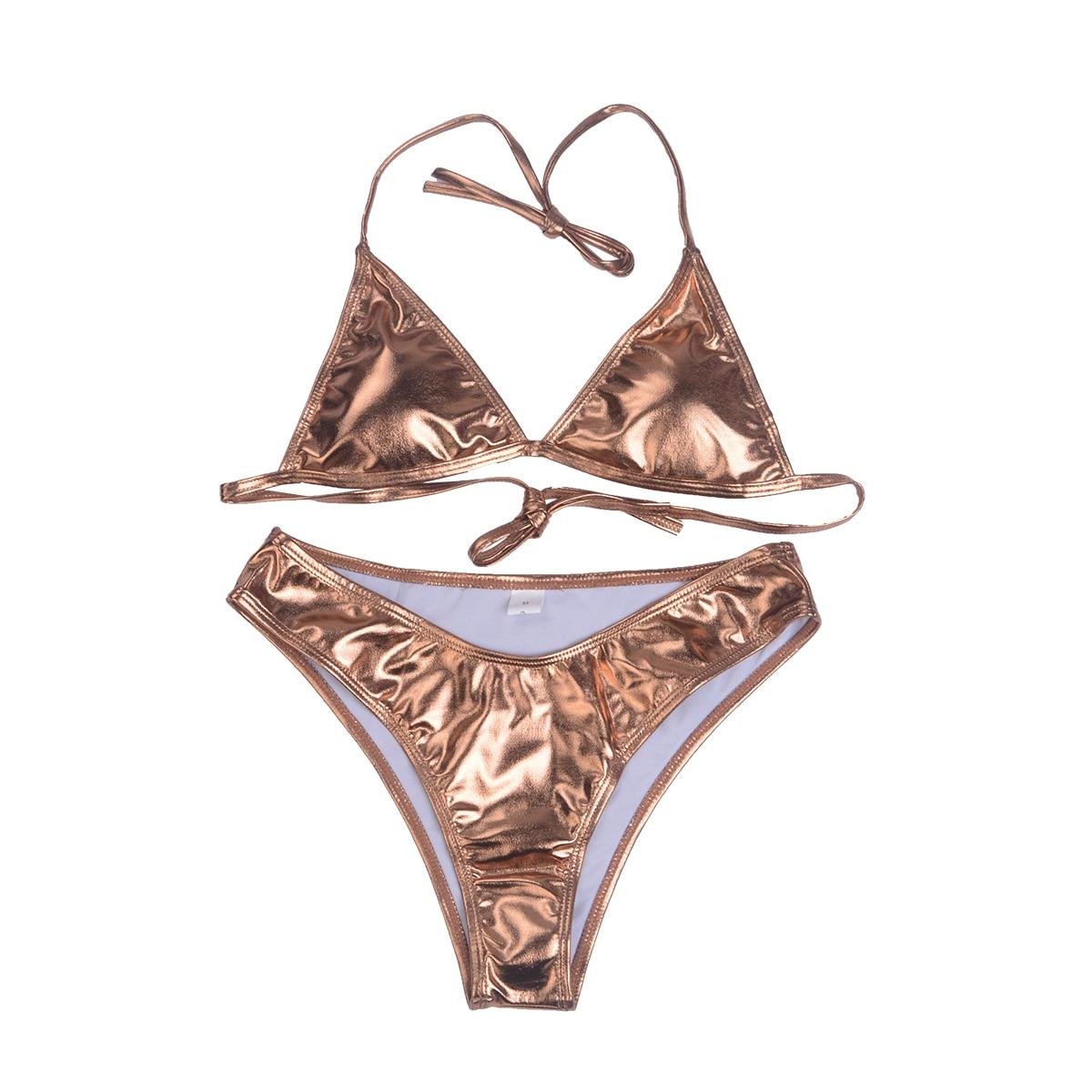 Hot Women Bikini Set Sexy Pure Swimwear Solid Shiny 2Pcs Padded Bra Bandage Triangle Swimsuit Push up Bathing Suit Lady Tankini in Bikinis Set from Sports Entertainment