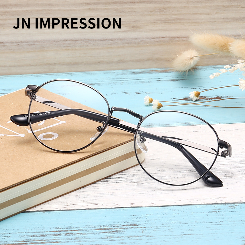 Men/women Round Sunglasses Retro Metal Frame Eyeglasses Korean Clear Lens Glasses Male Female Optical Circle Plain Mirror WK1008