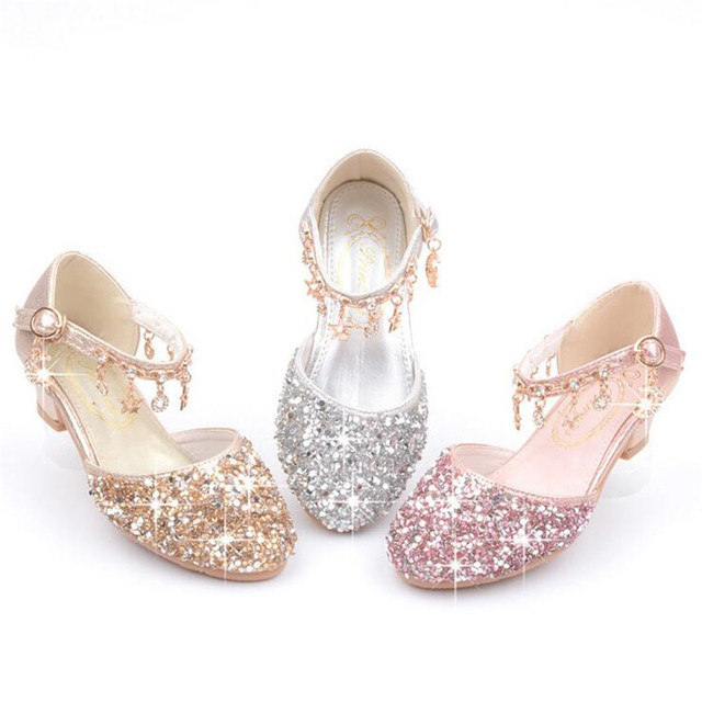 Children Princess Sandals Kids Girls Wedding Shoes High Heels Dress Shoes Bowtie Gold PU Leather Shoes For Girls Silver Pink