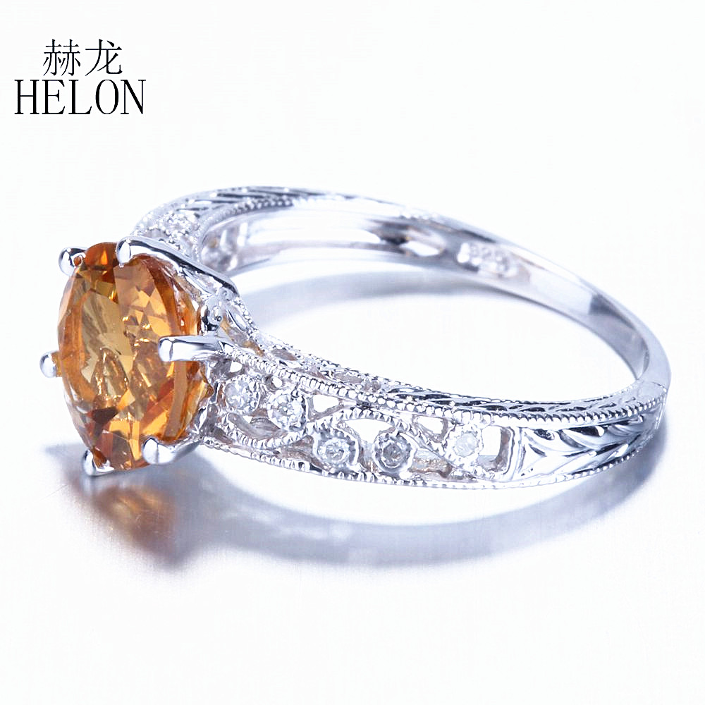 HELON Fine Diamond Engagement Wedding Ring Sterling Silver 925 Art Nouveau Vintage 7.5mm Round Citrine Ring Fine Jewelry WomenHELON Fine Diamond Engagement Wedding Ring Sterling Silver 925 Art Nouveau Vintage 7.5mm Round Citrine Ring Fine Jewelry Women