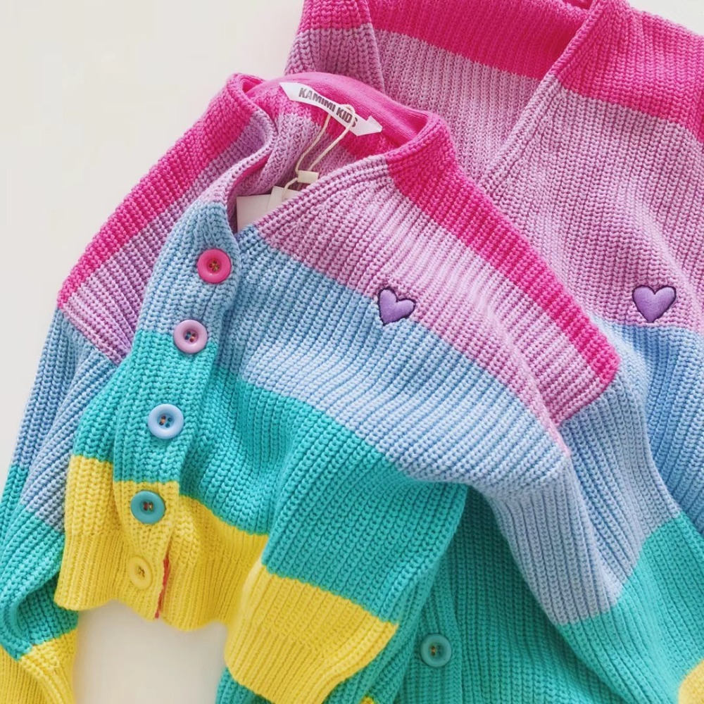 Mommy and kids cardigans rainbow candy colour sweet mother and daughter sweater family outfits family clothes sweet high neck candy color sweater