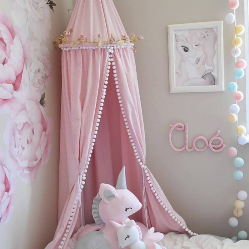Nordic Kids Room Mosquito Net Ins Style Fairytale Bed Curtain With Plush Ball Decoration Girls Nursery Room Dome Hanging Canopy Накомарник