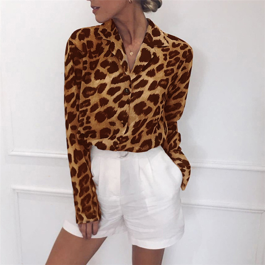 Hot Spring Summer Shirt Women 2019 Fashion Long Sleeve Chiffon Shirts Sexy Leopard Printed V-Neck Blouse Female Tops Plus Size