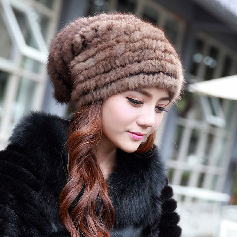 Fashion Natural Mink Knitted Fur Hat Winter Women Russian Style Warm Casual Beanies Headwear Solid Cap high qualityHats H#25