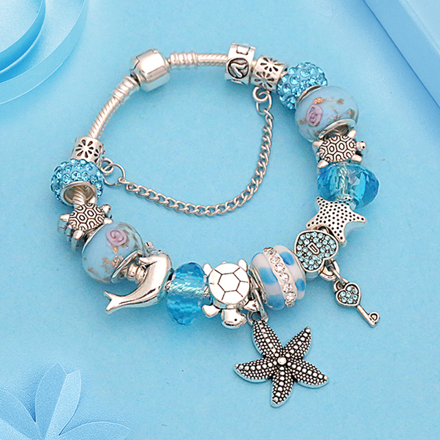 Blue Ocean Series Charms Pan Bracelet Starfish Dolphin Turtle Diy Beads Bracelets Bangles For Women