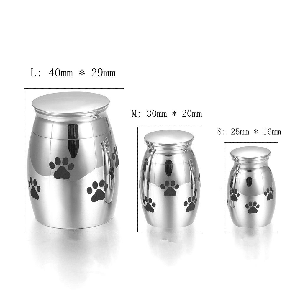 <font><b>Dog</b></font>/<font><b>Cat</b></font> Paws Printed Loss of Pet Cremation Jar Casket for Ashes High Quality Memorial Urn Funeral <font><b>Jewellery</b></font> Keepsake Free Funnel image