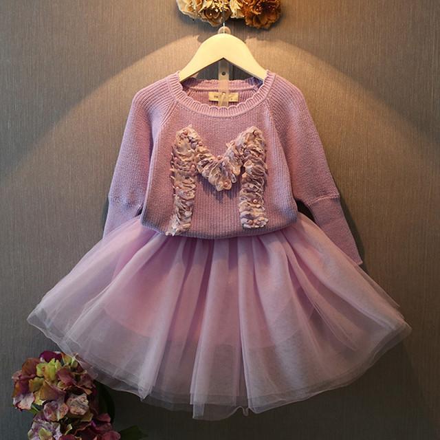 Coreano roupas de bebê crianças meninas roupas Set 2 peça definir roxo longo manga da camisola Floral + vestido de renda Set meninas roupas 2-8a