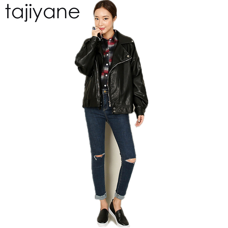 TAJIYANE 2018 Spring And Winter Plus Cashmere   Leather   Loose Motorcycle Female Jacket Wind Korean Short Thick Woman Coat LD050