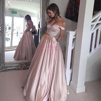 robe de soriee Off Shoulder Red/Pink Party Dress 2018 Sexy Long Maxi Dress Women Elegant Long Satin Prom Evening Gown Vestido