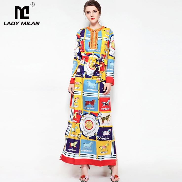 New Arrival Womens O Neck Beaded Long Sleeves Cartoons Printed Sash Belt Side Split Loose Design Fashion Casual Dresses