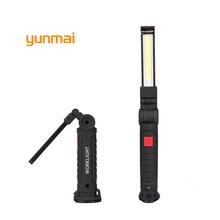 Yunmai COB światła Led przenośna latarka USB składana kontroli magnetyczne Lanterna wiszące lampa kempingowa wbudowana bateria tanie tanio Latarki EMC Saa Gs RoHS PSE CQC Ul Vde Lvd Ccc Fcc CE Ze stopu aluminium 14500 Kabel usb do ładowania Litowo jonowy Akumulator