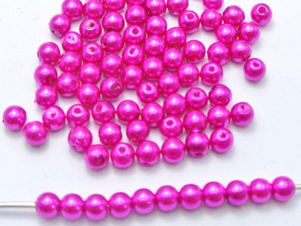 500 шт. 6 мм Пластик искусственный жемчуг круглый Бусины ярко-розовый имитация pearlrl