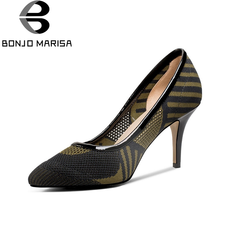 BONJOMARISA 2018 Summer Fashion Brand Breathable Women Pumps High Heels slip-on Ol Shoes Woman Sexy Shallow Pointed Toe Shoes bonjomarisa 2018 spring new fashion brand black genuine leather ol pumps slip on square toe shoes woman chunky heels women shoes