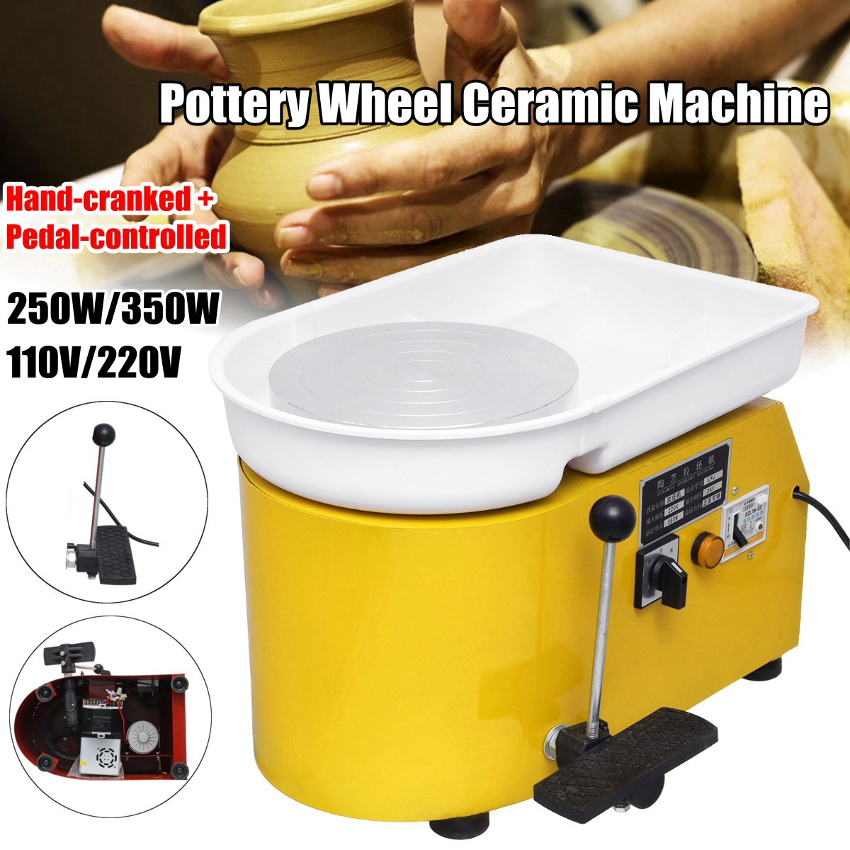 110V 220V Pottery Forming Machine 250W 350W Electric Pottery Wheel DIY Clay Tool with Tray For