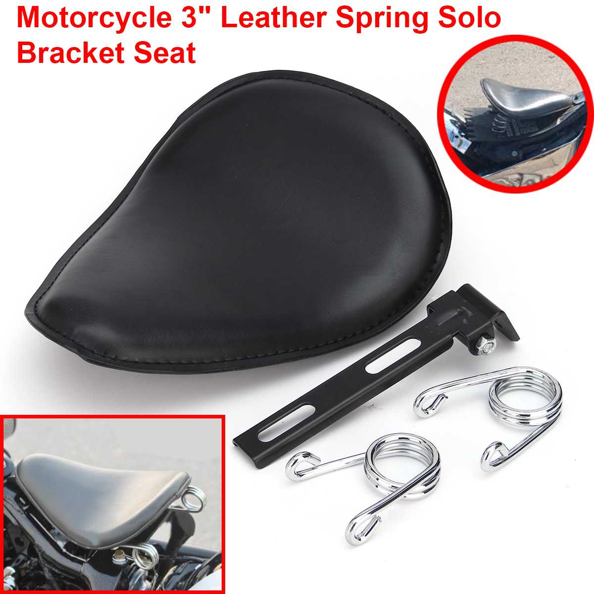 3 Inch Motorcycle Solo Seat Leather Spring Solo Bracket Saddle Seat Baseplate  Springs Bracket Mounting Kit