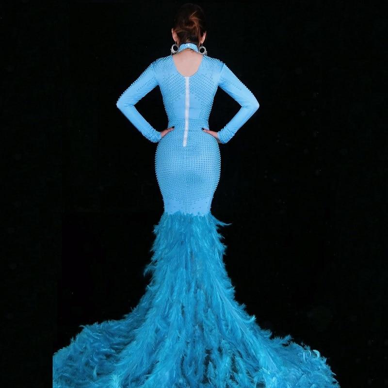 Mode cristaux maille robe strass Sexy Stretch scène danse porter soirée célébrer franges robe Costume - 2