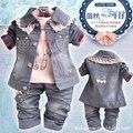 O envio gratuito de nova chegada crianças conjunto de roupas de jeans casaco + T-shirt + pants 3 pcs set para o bebê crianças meninas Cowboy terno de alta quaility