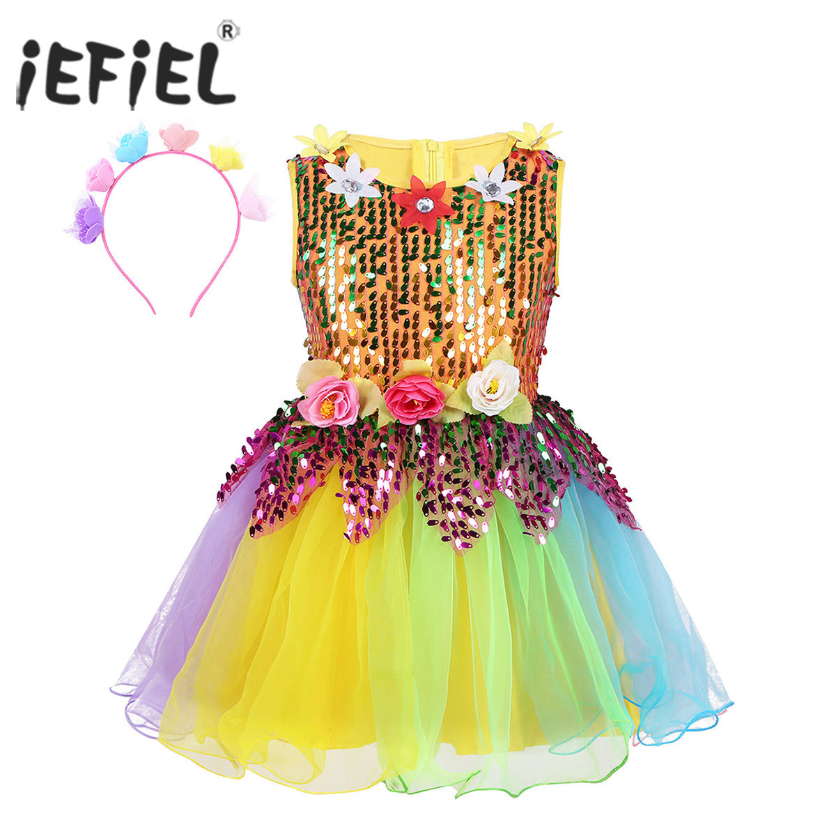 Kids Girls Dance Wear Sequined Flower Rainbow Tulle Dress with Hair Hoop Set for Modern Jazz Latin Dance Stage Performance