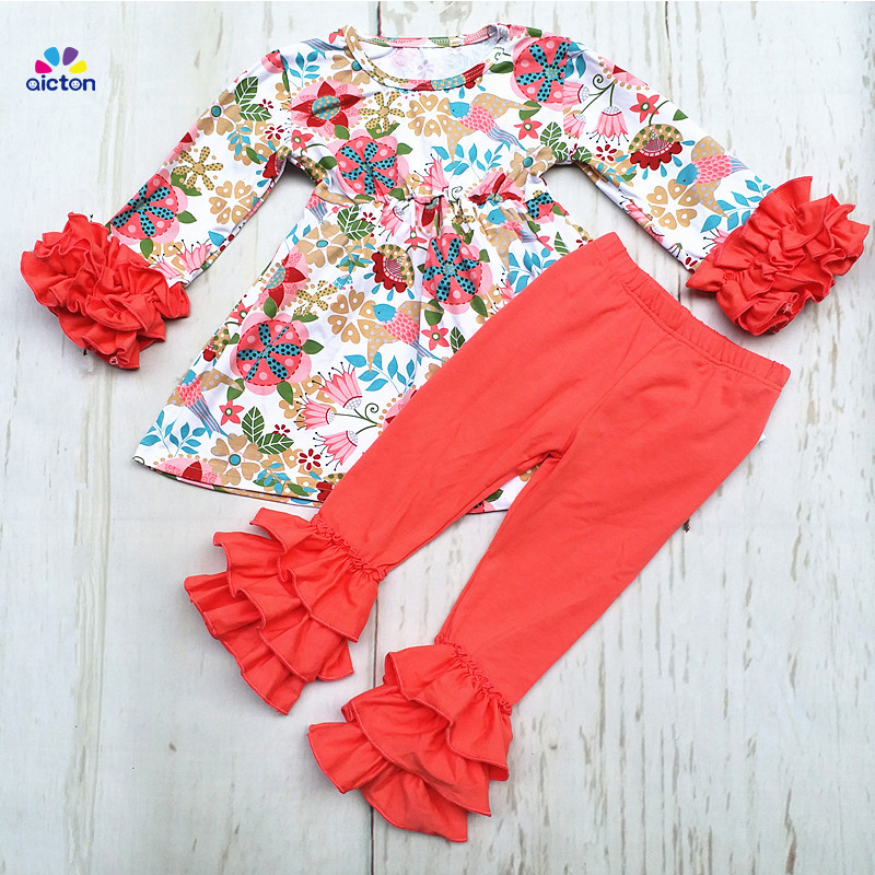 new Fall/winter girls outfits kids pink solid pants sets floral ruffle outfits for girls cotton children clothing set free ship fall winter long sleeve children clothing sets infant girls ruffle outfits knitted cotton newborn baby clothes f110
