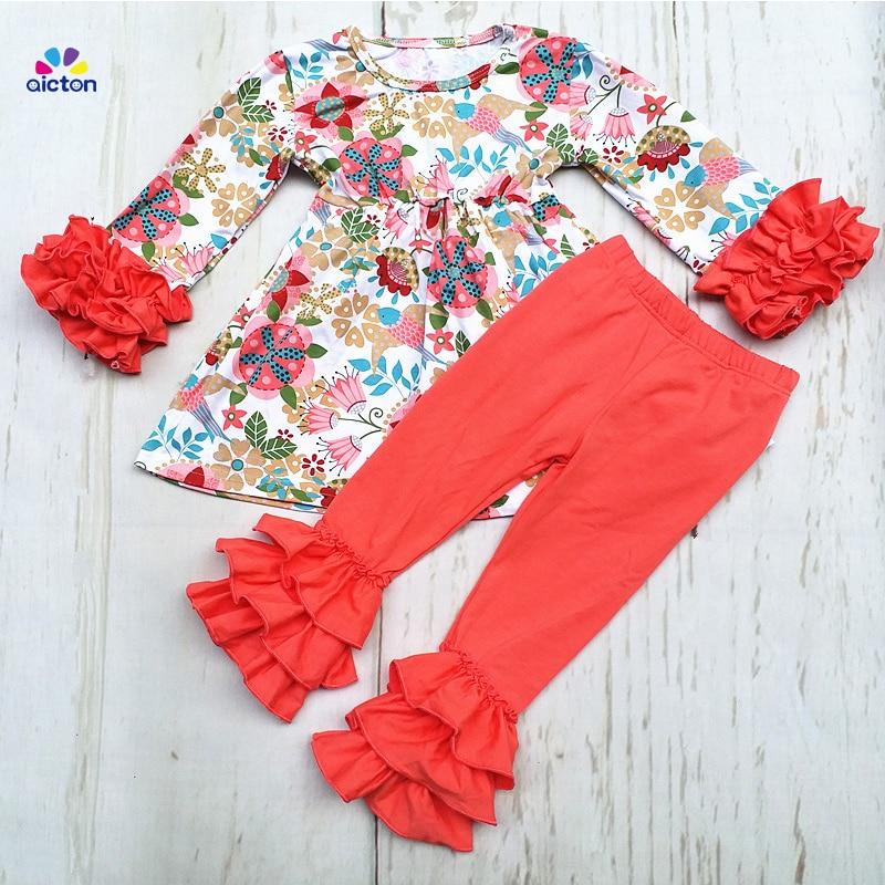 Новые осенние/зимние комплекты для девочек Дети розовый сплошной комплект со штанами с оборками и цветочным наряды для девочек хлопок комп...