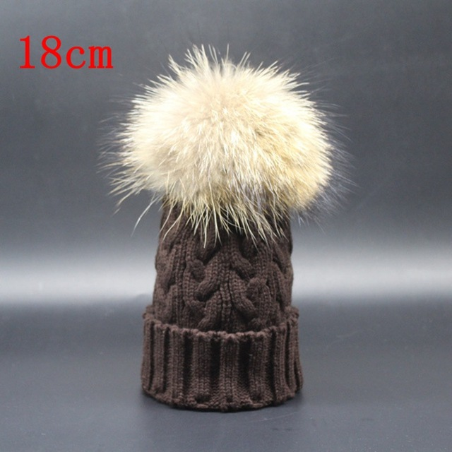 Winter super big size pom pom fur 18cm genuine raccoon fur hat multi color knitted exported twisted beanies unisex warm beanies