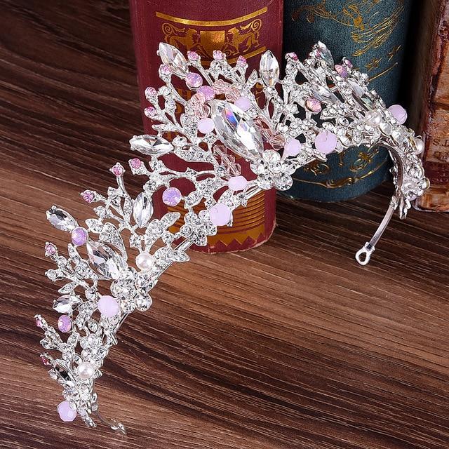 DIEZI Wedding Pink Crown Princess Crystal Bridal Tiaras Crown Rhinestone Tiaras Women Headbands Big Gem Stone Hair Accessories