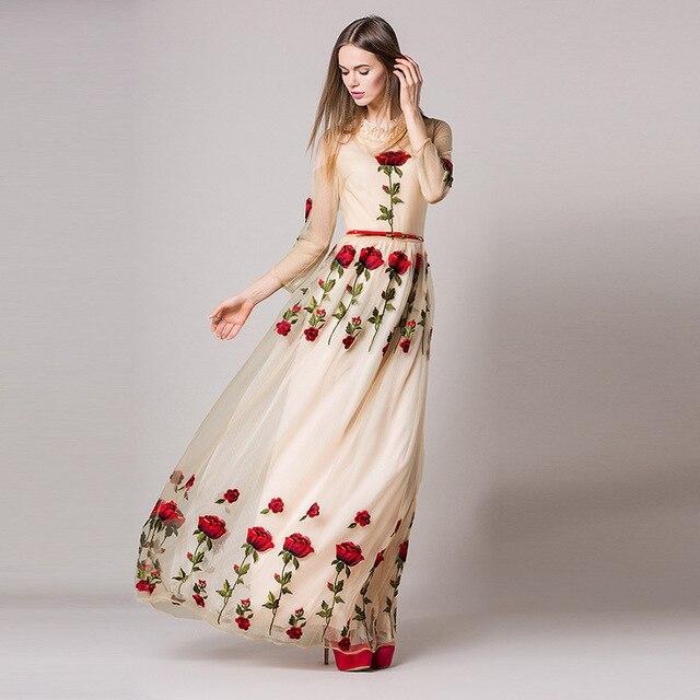 cea93da1b Elegante Vestido Longo De Renda 201 6 Pista verão Mulheres Manga Comprida  Rosa Floral Malha gaze