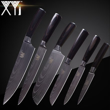 XYj Kitchen Knife Cook Sets Damascus Pattern 7cr17 Stainless Steel Knife Chef Slicing Santoku Utility Paring Knife Cooking Tools(China)