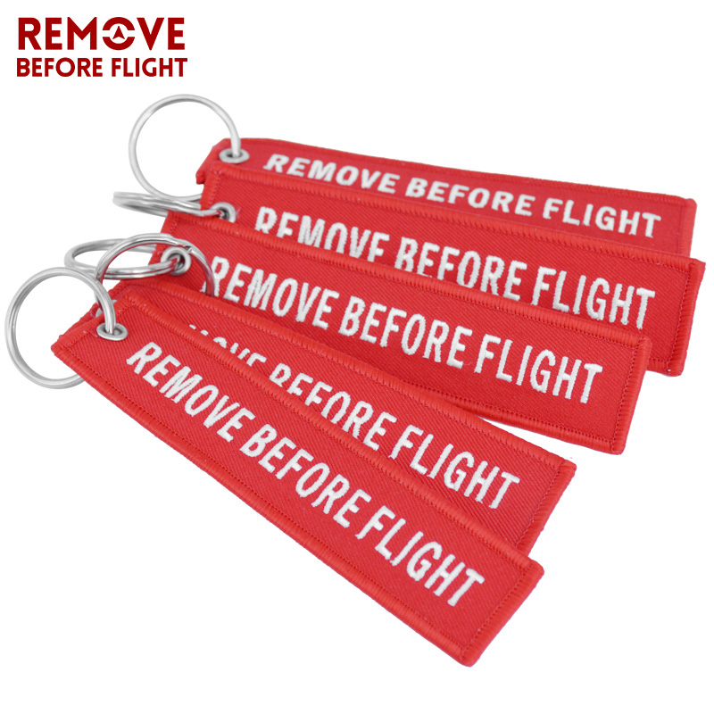 Remove Before Flight Key Chain Chaveiro Red Embroidery Keychain Ring for Aviation Gifts OEM Key Ring Jewelry Luggage Tag Key Fob5