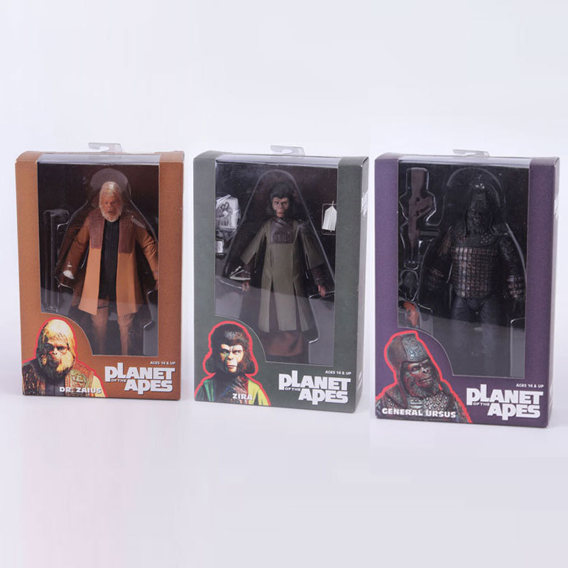 3pcs/set NECA 29996 <font><b>Planet</b></font> <font><b>of</b></font> <font><b>the</b></font> <font><b>Apes</b></font> ZIRA <font><b>DR.</b></font> <font><b>ZAIUS</b></font> GENERAL URSUS Movie <font><b>Action</b></font> <font><b>Figure</b></font> Collection Model Toy